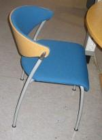 Konferansestol i bjerk / blått, pent brukt