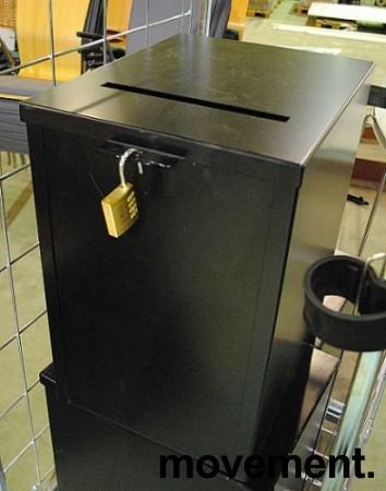 Forslagskasse / stemmeurne i sortlakkert metall med Abus kodelås, pent brukte bilde 1