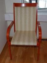 ISKU Konferansestol , pen møteromsstol i kirsebær og beige stoff, pent brukt