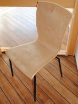 Konferansestol / stablestol i bjerk og beige mikrofibertrekk, pent brukt