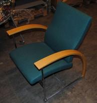 ForaForm besøksstol / lenestol i krom/ bøk/ grønt stoff, modell TRES, pent brukt