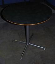 Rundt bord Ø=75 cm, grå plate og understell i sølvfarget metall, pent brukt
