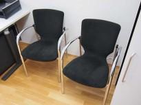 Besøksstol i sort / krom fra Oken, pent brukte