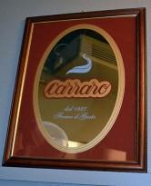 Speil 40x50cm med italiensk kaffereklame, Carraro, pent brukt