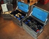 Skjøtestasjon for fiber i 3 stk Zarges-kasser, mye utstyr som selges samlet