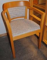 Konferansestol med armlener i bøk / rutete stoff, pent brukt