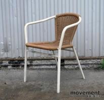 Metalmobil stablestol for uteservering i rotting / hvitlakkert stål, brukt