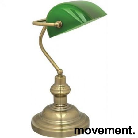 Bankier bordlampe med grønn glasskjerm, ny/ubrukt
