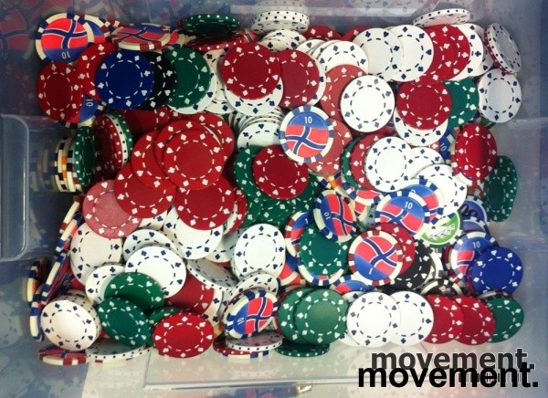 Pokerchips / sjetonger, flere hundre løse, pent brukte