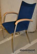 EFG Stablestol / møteromsstol i bøk/blå mikrofiber, pent brukte