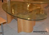 Sofabord / Glassbord med oval plate 152x90cm, H=48,5cm, pent brukt