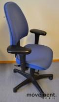 Kinnarps Freefloat 6000 / Synchrone 8000, blå gaja, rund rygg, pent brukt