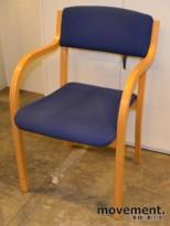 Stablestol / konferansestol i bøk / blått stoff, pent brukte