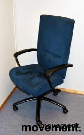 Kinnarps Kapton kontorstol i blå mikrofiber, pent brukt, KUPPVARE bilde 1