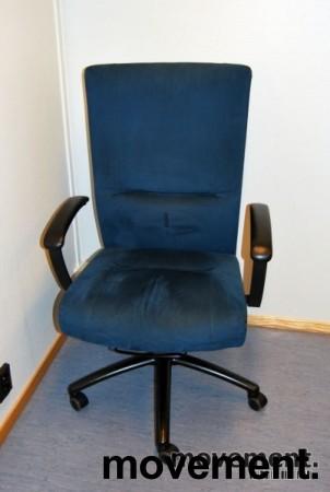 Kinnarps Kapton kontorstol i blå mikrofiber, pent brukt, KUPPVARE bilde 2