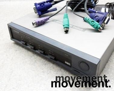 KVM-switch 4port LINKSYS SVIEW04, komplett med 3 kabler, pent brukt