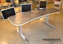 Buet skrivebord for kontrollrom med el.hevsenk, (235cm bredde), pent brukt