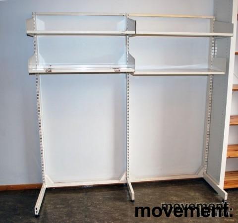 Liten lagerhylle / arkivhylle med L-fot, hvitlakkert stål, pent brukt bilde 2