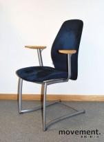 Kinnarps Plus 377, møteromsstol i blått / bjerk / grått, pent brukt