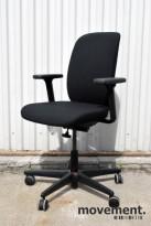 Savo Eos HL, kontorstol med armlener og høy rygg, nytrukket i sort stoff