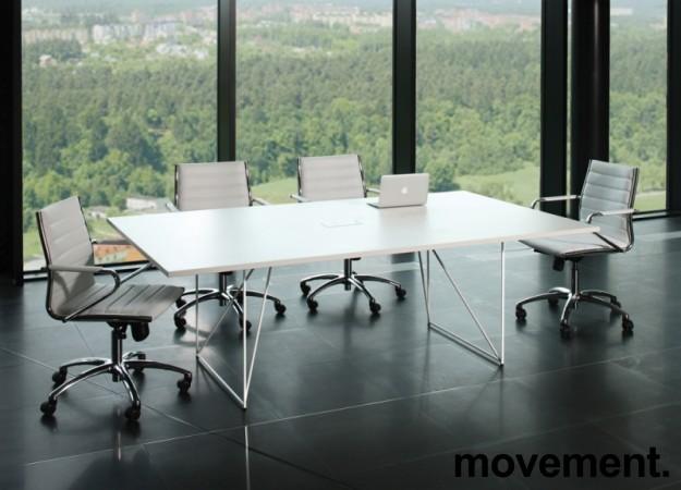 Møtebord AIR i hvitt 220x130cm med kabelluke, 6-8 personer, NY / UBRUKT bilde 2