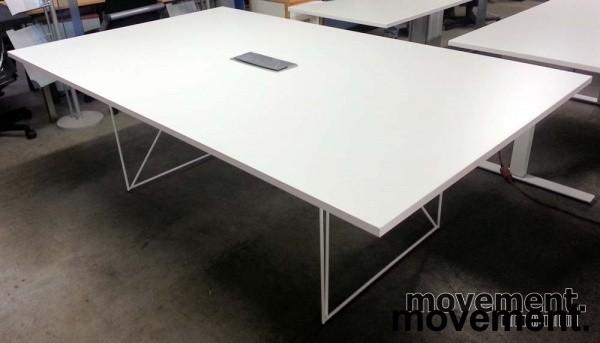 Møtebord AIR i hvitt 220x130cm med kabelluke, 6-8 personer, NY / UBRUKT bilde 3