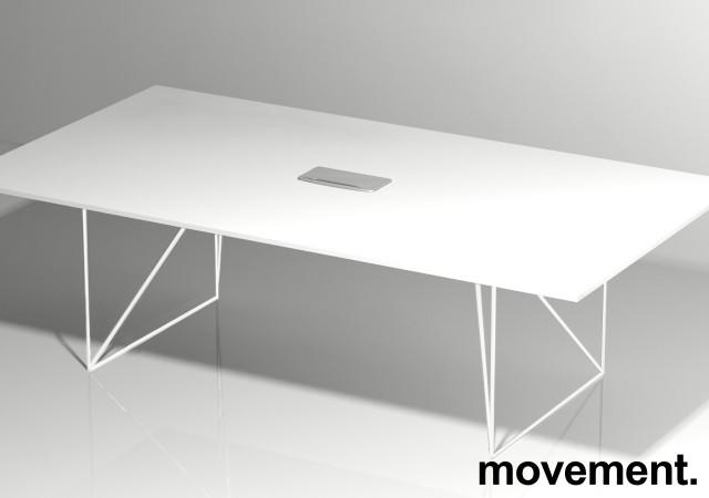 Møtebord AIR i hvitt 220x130cm med kabelluke, 6-8 personer, NY / UBRUKT bilde 4