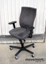 EFG Splice kontorstol i grå mikrofiber (Comfort), med armlener, pent brukt