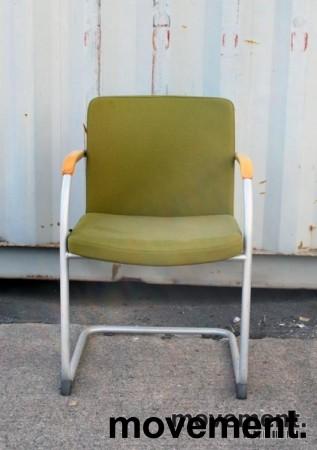 HovDokka møteromsstol / besøksstol i mørkegrønt stoff (Gaja), pent brukt bilde 3