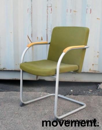 HovDokka møteromsstol / besøksstol i mørkegrønt stoff (Gaja), pent brukt bilde 1