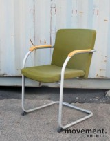 HovDokka møteromsstol / besøksstol i mørkegrønt stoff (Gaja), pent brukt