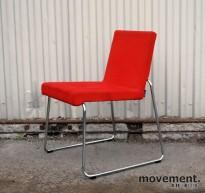 Offecct Mono, design Ola Rune, loungestol / besøksstol i rødt / krom, pent brukt