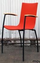 Kinnarps konferansestol i bøk / rødt stoff (Gaja), Citra med armlener, pent brukt