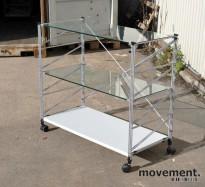 Caimi Socrate hylle på hjul med glasshyller, 90.5x100x45, pent brukt