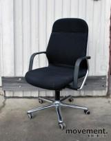 Wilkhahn FS-Line bred kontorstol i sort / krom med høy rygg, pent brukt