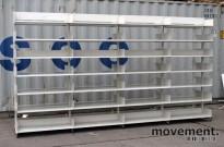 Lagerreol / arkivreol i hvitlakkert stål, 224cm høyde, 67 cm dybde, pent brukt