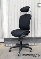 Savo MaxIkon 4 kontorstol med høy rygg og nakkepute, sort Gaja, pent brukt