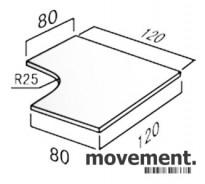 Hjørneplate bordplate i hvitt, 120x120cm, NY / UBRUKT
