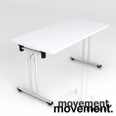 Konferansebord / Klappbord i krom/hvitt, 140x70cm, NY / UBRUKT