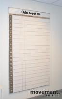 """Vegghengt whiteboard med \""""Oslo Topp 20\"""", 200x120 cm, pent brukt"""