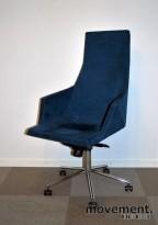 Mayflower blå konferansestol på hjul, design Pettersson / Bernstrand, pent brukt