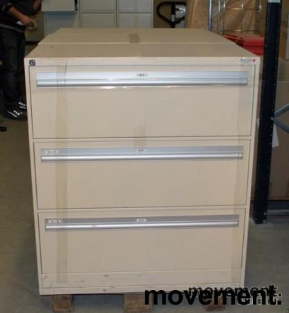 Fossafe 3skuffers arkivskap for hengemapper, 102 cm høyde, pent brukt bilde 3