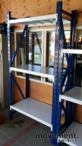 Stålhyller / mini pallereol 240cm høyde, 60cm dybde, modulsystem, NYTT