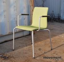 Skandiform konferansestol / stablestol i grønt / grått, med armlener, pent brukt