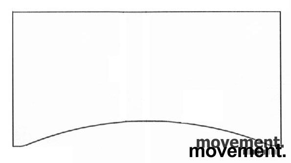 Hvit bordplate for skrivebord med innsving/magebue 180x90cm, NY/UBRUKT