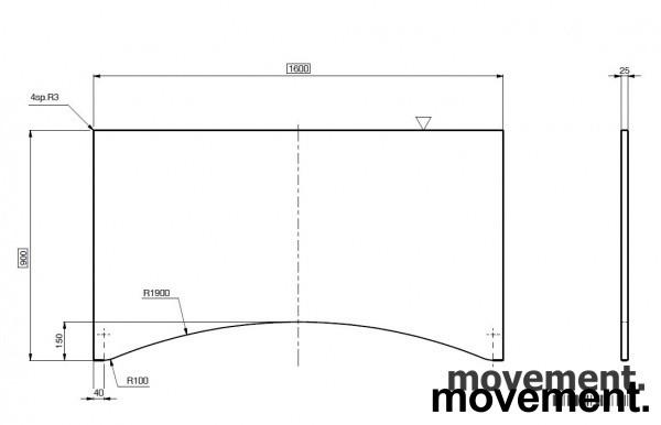 Hvit bordplate for skrivebord med innsving/magebue 160x90cm, NY/UBRUKT bilde 2