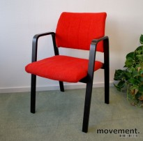 Håg konferansestol / besøksstol i rustrødt / sort, retro modell, pent brukt