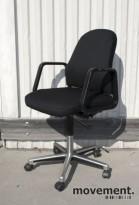 Savo 18 retro kontorstol, nyoverhalt og nytrukket i sort stoff, pent brukt