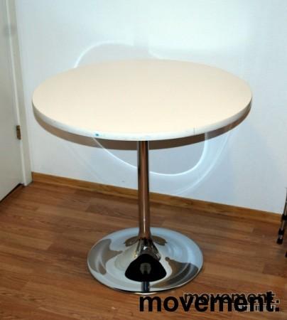 Retro vintage rundt bord i hvitt krom, u00d8=75 cm, 69 cm hoyde, pent brukt