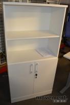 Ringpermreol i hvitt med dører nederst, 4høyder, 159,5cm h, NY